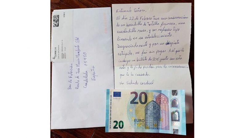Un bar de Ávila recibe por correo 20 euros de un cliente que se fue sin pagar