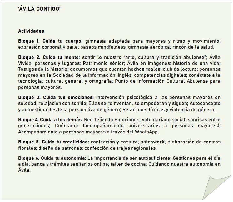 Actividades para mayores: 'Ávila contigo'