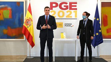 Pedro Sánchez y Pablo Iglesias presentando los PGE 2021