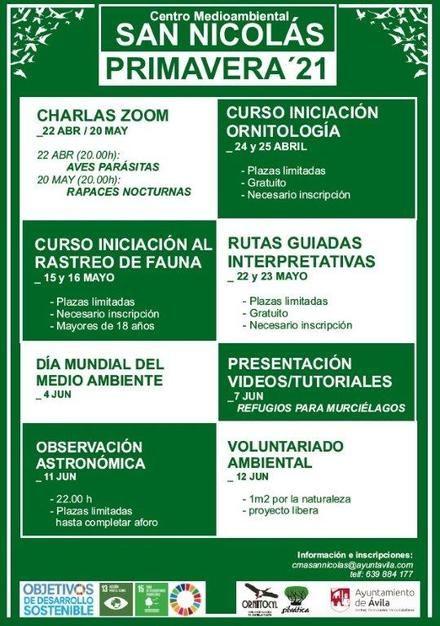 Programa de actividades de primavera del Centro Medioambiental de San Nicolás